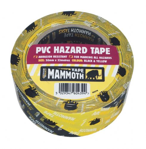 PVC Hazard Tape Red/White 50mm x 33m